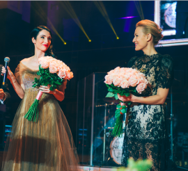 Ambasadorky charity Česko-Slovenského plesu. Zprava: Martina Šmuková, ambasadorka pro ČR a Lucia Hablovičová, ambasadorka pro SR